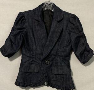 Women's Denim/Ruffle Blazer Sz XS/S, NWOT