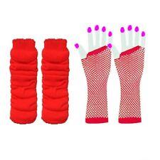 NEON 80s FANCY DRESS LEG WARMERS FISHNET GLOVES PINK 1980'S HEN PARTY TUTU SET