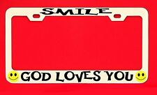 Smile God Loves You Chrome License Plate Frame Tag Religious Weatherproof Vinyl1