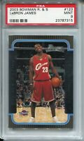 2003 Bowman Basketball #123 Lebron James Rookie Card RC Graded PSA MINT 9 '03