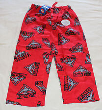 Essendon Bombers Logo AFL Boys W16 Red Printed Flannel Sleep Pants Size 12 New