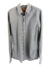 HUGO BOSS Mens Shirt S Small Grey Cotton Orange Label