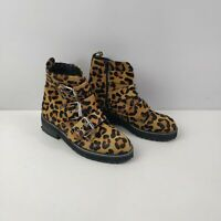 WOMENS OFFICE LEOPARD PRINT PONY HAIR ZIP UP BUCKLE ANKLE BOOTS SHOES UK 5 EU 38