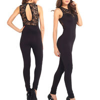 Tuta donna pizzo elegante jumpsuit party nera overall party rompers cocktail