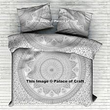 Queen Size Silver Ombre Mandala Duvet Cover Indian Doona Quilt Royal Bedding Set