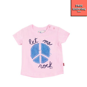 LEVI'S T-Shirt Top Size 6M Printed Peace Sign Short Sleeve Crew Neck