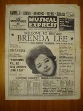 NME #930 1964 NOV 6 ANIMALS KINKS BRENDA LEE SHADS TEEN