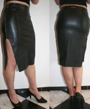 STUNNING MISS SIXTY BLACK PVC FAUX LEATHER TIGHT MIDI PENCIL SKIRT + SIDE SPLIT