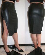 Impresionante MISS SIXTY Negro PVC Imitación de Cuero Ajustado Midi Lápiz Falda + lado Split