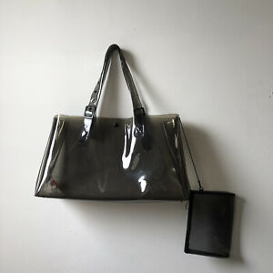 YOHJI YAMAMOTO Y's for Men Large Dark Grey Vinyl Buckle Tote W/ Attached Pouch