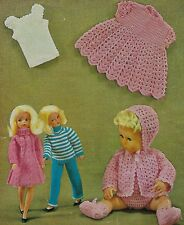 DOLLS CLOTHES SINDY & 12/14 TINY TEARS KNITTING CROCHET PATTERN BY EMAIL (1432)