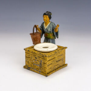 Antique Cold Painted Spelter - Japanese Lady By Well Formed Inkwell Inkstand