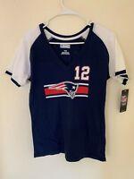 New # 12 Tom Brady New England Patriots NFL Majestic V-Neck T-Shirt - Navy