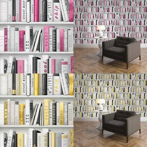 Muriva Bookcase Library Bookshelf Style Pink Gold Grey Books Glitter Wallpaper