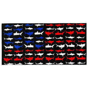 "30"" x 60"" RWB Shark Terry Velour Bath/Beach Towel 100% Cotton"