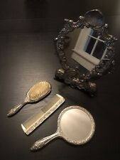 Antique 3 piece dressing table set with standing vanity mirror