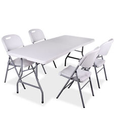 4 Plastic Chairs and 6FT 1.8M Table Indoor Outdoor Garden Wipe Clean Surface
