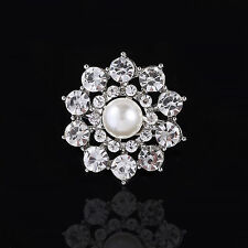 Wedding Bridal Bouquet Silver Flower Rhinestone Crystal Brooch Pin Jewelry Gift