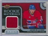 2015-16 Upper Deck Series 2 Rookie Materials Jacob De La Rose Montreal Canadiens