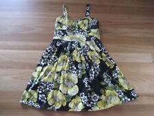 LADIES CUTE BLACK & YELLOW FLORAL COTTON SLEEVELESS DRESS BY OJAY SIZE 10 CHEAP