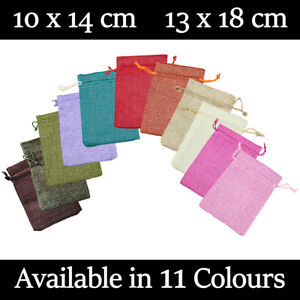 Large Jute Burlap Hessian Gift Pouches Wedding Favour Bag In 11 Colours & 2 Size