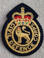 BLAZER Badge Military Style Sew On Type Civil Defence Corps Black Gold Red