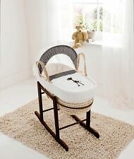 Brown Giraffe Palm Moses Basket on Deluxe Rocking Walnut Stand