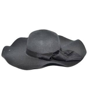 Cappello parasole di paglia nera donna elegante tesa larga da sole estate flessi