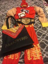 Boys Hulk Hogan Costume Padded Muscle Wwe Hulkamania Costume Mustache Treat Bag
