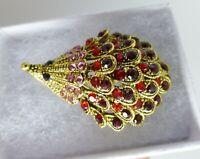 Hedgehog animal brooch  red pink crystal  rhinestone vintage style in gift box