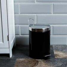 3 Litre Pedal Bin Black Stainless Steel Bathroom Kitchen Waste By Home Discount