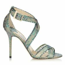 9486f7542fd Jimmy Choo Holographic Lace And Metallic Elaphe Sandals (38)