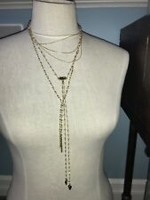 NWT Free People Beaded Bolo Layered Necklace White/Gold