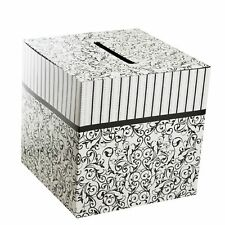 "Wedding Card Money Gift Box Reception Wishing Well 10"" x 10"" Black & White"