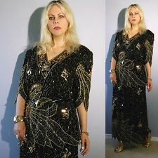 Vtg 70's India Sequin BEADED Sheer Embroidered CUTOUT Wedding Maxi Dress Suit