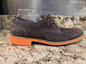 COLE HAAN Men's Brown & Orange c11122 Wingtip Dress Suede Shoes Size 8 M
