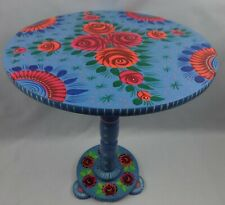 More details for handmade and hand painted truck art decorative round wooden coffee table
