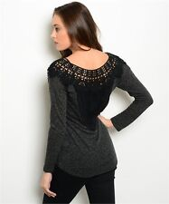 Womens Size Small Top 3/4 sleeve Crochet Lace back Soft jersey top Boutique