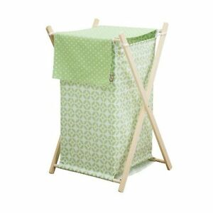 New Trend Lab Lauren HAMPER COVER ONLY-  BABY NURSERY GREEN WHITE-NO WOOD STAND