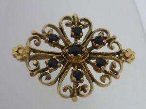 Stunning Unusual Vintage Sapphire 9k Gold Brooch By GJ - 4.4 Grams