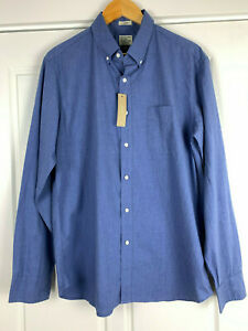 J Crew Blue Cotton Men's Slim Stretch Secret Wash Shirt BNWT Size L