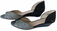 NINE WEST Blk Cream Dots Wedge Heels Sz 8.5 Leather Open Toe Slip On Open Sides