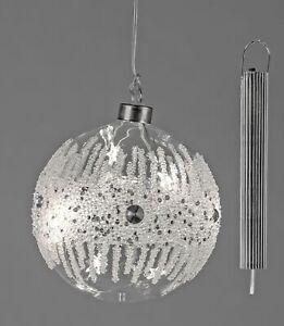 LED Kugel DIAMOND zum hängen D. 12cm mit Timer aus Glas Formano W20