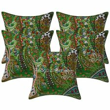 Indian Kantha Printed Throw Pillowcases Paisley Cotton Cushion Covers Set Of 5