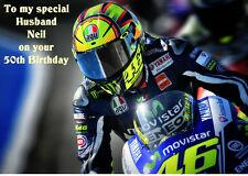 VALENTINO Rossi a5 Compleanno Biglietto Personalizzato Anniversario PAPA 'MARITO FIGLIO ZIO