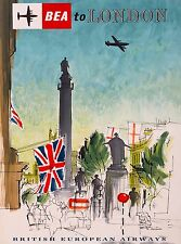 BEA to London England Great Britain Vintage Airline Travel Advertisement Poster