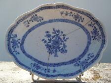 Plat porcelaine bleu blanc Compagnie de indes du 18ème