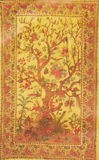 PERSIAN TREE OF LIFE MEDIUM YELLOW GOLD ALL SIZES TAPESTRY THROW COVERLET BED!!