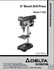 """Delta 8"""" Drill Press Instruction Manual #11-950"""