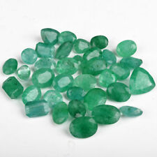 Natural Zambian Green Emerald 100 Ct /12 Pcs Translucent Emerald Gemstones Lot